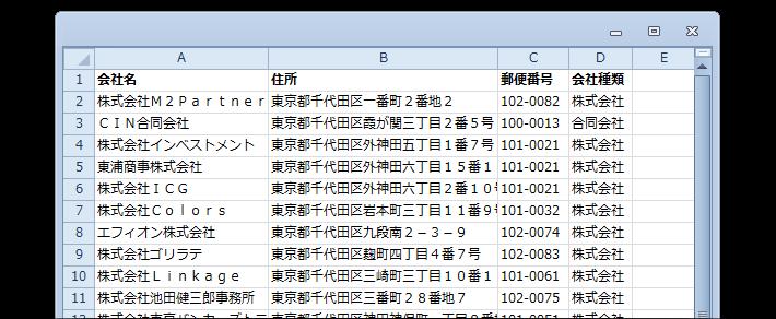 新設法人リストのサンプル(変更前)