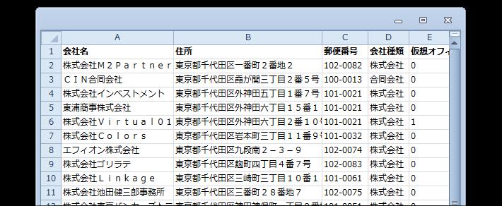 新設法人リストのサンプル(変更後)